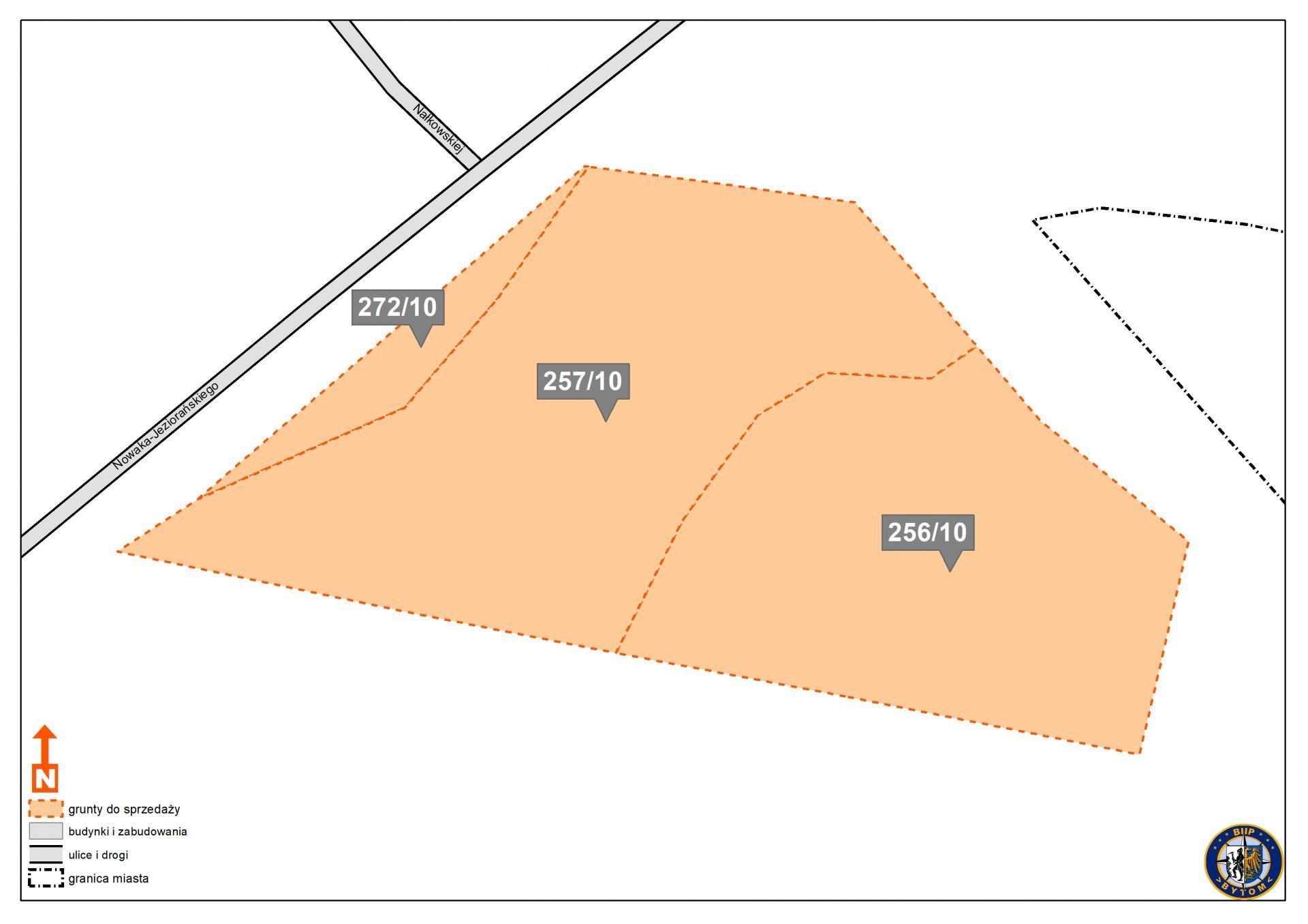 Mapa z obrysem działki