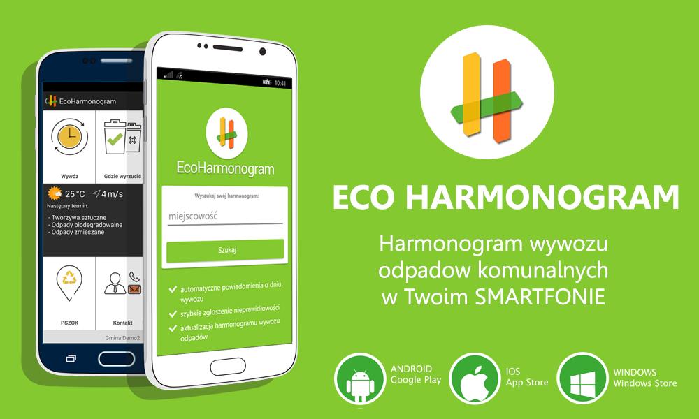 Grafika informacyjna dotycząca aplikacji EcoHarmonogram