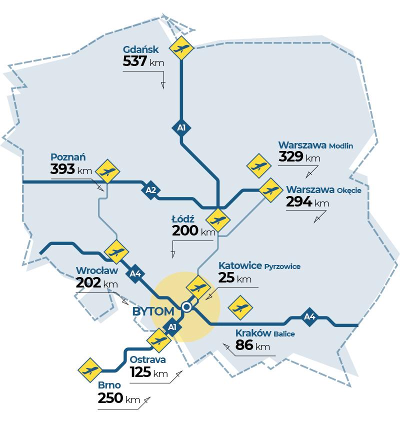 Bytom w środku aglomeracji śląskiej - mapa poglądowa